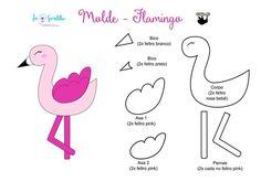 Flamingo com molde Felt Flowers Patterns, Felt Patterns, Adult Crafts, Diy And Crafts, Flamenco Party, Flamingo Craft, Bird Template, Felt Diy, Felt Ornaments