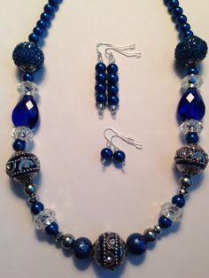 Jewelry Sale - Jesse James Beads, Deep Blue Necklace, Jesse James Blue Beads, Royal Blue Necklace, Navy Blue Necklace, Christmas Gifts by BeadsDesignedbyRenea on Etsy