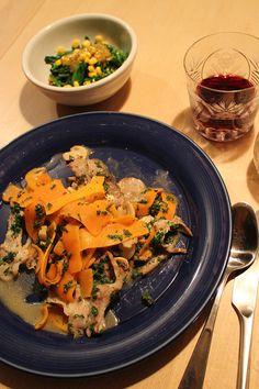 dinner on Mon. pork braised with carrot, mushroom, lemon, white wine & parsley, boiled rape blossoms & corn by vinaigrette sauce Corn Flakes, Vinaigrette, Parsley, White Wine, Blossoms, Thai Red Curry, Carrots, Stuffed Mushrooms, Pork