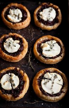 Red Wine Caramelized Onion and Goat Cheese Tarts