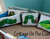 Pillows...Made With Very Hungry Caterpillar Fabric (Set of 4) --Made to Order-- one of my favorite books as a kid.