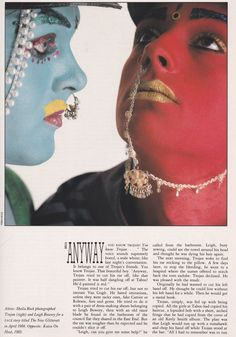 This one comes from The Face January 1987 and tells the story of Trojan, one of the London club faces, specifically at the Taboo club alongside Leigh Bowery. Text by Paul Rambali with images by Derek Ridgers and Sheila Rock.