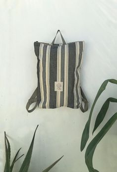 Minimal Backpack, Canvas Backpack, Laptop Backpack, Zipper Backpack, Minimal Rucksack, Striped Backpack, Minimalist Backpack