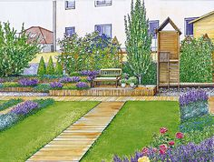 Wooden paths and pedestals wooden bench - Home And Garden Landscape Plans, Landscape Design, Garden Design, Lawn And Garden, Home And Garden, Wooden Path, Drawing Room Furniture, Garden Drawing, Autumn Scenery