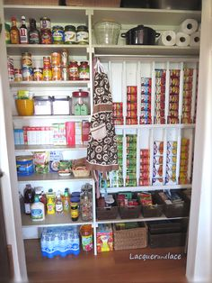 Pantry Organization- I like the can holders