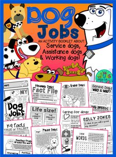 This 52 page mini booklet pack is designed to support your classroom discussions about Service & Assistance dogs - you can mix and match from the large selection of pages to best meet the needs of your class!  Includes information on: Guide dogs (Seeing eye dogs), Hearing dogs, Service/Assistance dogs, Sniffer/Detection dogs, Police dogs (K9's!), Working/Farm dogs, Hunting & Tracking dogs & Sled dogs...