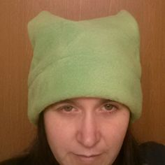 Cat hat, pussy hat, beanie, science march hat, polar fleece, lime green, feminism,  girl power, earth day by SlickeryKnits on Etsy
