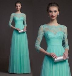 New Jewel Chiffon Long Sleeve Formal Evening Wedding Gown Prom Dress 2014