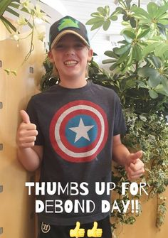 Tage is giving a double thumbs up on debond day! #nomorebraces!