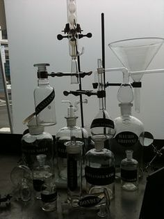 Laboratory  setup inspiration.  Very nice display of antique bottles