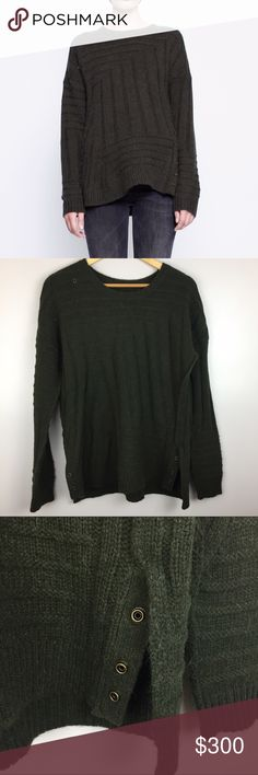 "Zadig & Voltaire Kansas Aln Oversized Sweater •Zadig & Voltaire Kansas Aln Green Oversized Sweater •Women's Size Medium •In excellent used condition •50% alpaca/ 30% Wool/ 20% polyamide •Retail $325 •All measurements are approximate: 27"" length, 22"" across chest, 20"" Sleeve length Zadig & Voltaire Sweaters Crew & Scoop Necks"