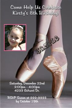 Ballet Point Shoes Birthday Invitations -  Get these invitations RIGHT NOW. Design yourself online, download and print IMMEDIATELY! Or choose my printing services. No software download is required. Free to try!