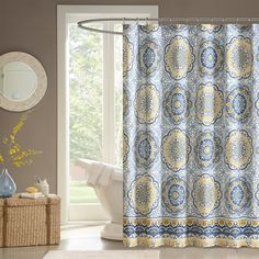 Tangiers instantly adds color and flair to your bathroom. Its bold blue and yellow floral print with large medallions is a modern twist to a classic look.