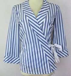NWT The Limited Size Medium Blue White Striped Wrap Blouse 3/4 Sleeves Cotton #TheLimited #Wrap