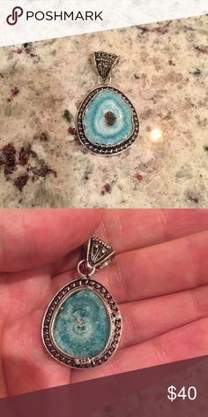 Blue solar Quartz Pendant Stamped 925. Beautiful natural stone! Jewelry