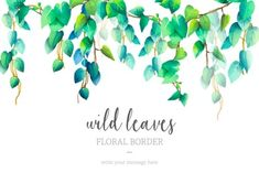 Discover thousands of copyright-free vectors. Graphic resources for personal and commercial use. Thousands of new files uploaded daily. Design Floral, Motif Floral, Floral Border, Watercolor Border, Watercolor Leaves, Floral Watercolor, Wedding Frames, Wedding Cards, Wedding Invitation Templates