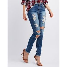 Cello Destroyed Skinny Jeans ($37) ❤ liked on Polyvore featuring jeans, medium wash denim, skinny jeans, ripped jeans, destroyed jeans, torn jeans and super ripped skinny jeans