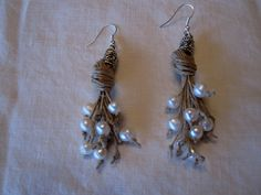 RESERVED NATURAL PEARLS Earrings linen thread knots by espurna88, €11.90
