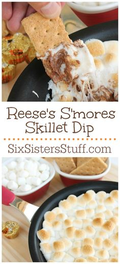 Reese's S'mores Skillet Dip - 26 mini Reese's peanutbutter cups, 2 c mini marshmellows, 16 full graham crackers. Oven at Peanutbutter cups in single layer in bottom of skillet, top with marshmellows. Bake minutes until golden. Best Dessert Recipes, Easy Desserts, Delicious Desserts, Yummy Food, Summer Desserts, Brownies, Cupcakes, Eat Dessert First, Cookies Et Biscuits