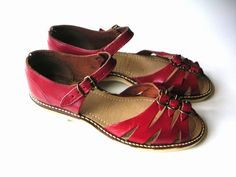 RESERVED for Bingaah 1940s shiny red leather sandals by edgertor