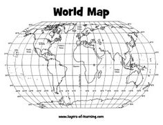 Latitude And Longitude Worksheets World Map With Latitude And Longitude Grid - Veigia Teaching Map Skills, Teaching Maps, Teaching Geography, Teaching Social Studies, Teaching Grammar, Geography For Kids, Geography Map, Maps For Kids, World Map Latitude