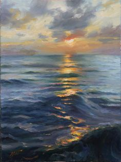 """Just look or even gaze, at this beautiful scene and you can feel the """"liquid"""" of the water.  Radiant Sunset by Dominic Avant Oil ~ 16"""" x 12"""""""
