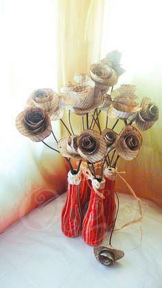 DIY. Jarron reciclado y flores de papel antiguo