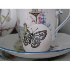 Vintage style duck-egg blue butterfly white ceramic drawer knob