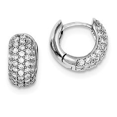 Sterling Silver Rhodium Plated Synthetic CZ 03IN Hinged Hoop Earrings 05IN x 03IN  >>> For more information, visit image link.