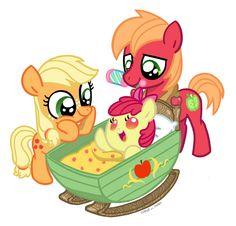 Young Big Mac, Applejack and newborn filly Apple Bloom