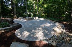 Turner Landscape Design - Hidden Patio in the woods (Paver Patio, Boulder Seating, Firepit)