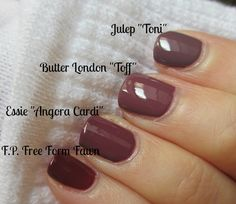 COMP: butterLONDON-Toff Vs. Essie-Angora Cardi [Also Shown: Julep-Toni and Finger Paints-Free Form Fawn] / IHeartPrettyPolish