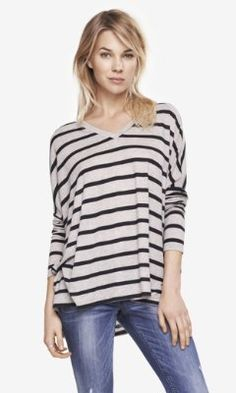 STRIPED DOUBLE V-NECK TUNIC TEE from EXPRESS