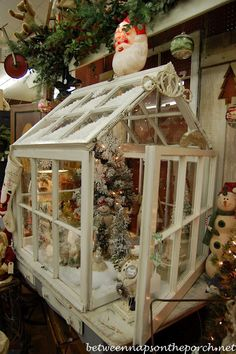 "Greenhouse from Old Discarded Windows used for a gorgeous Christmas display by ""Between Naps on the Porch"" :: Good idea for those we see in Canton . (I'd want to start small! Christmas Love, Country Christmas, Vintage Christmas, Christmas Holidays, Christmas Decorations, Xmas, Christmas Vignette, Christmas Displays, Christmas Scenes"