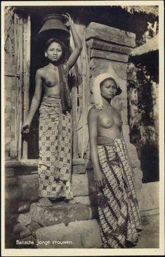 indonesia,  BALI, Native NUDE Girls Head Transport (1930s) RPPC