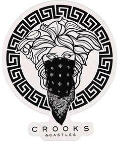Crooks and Castles pegatina greco