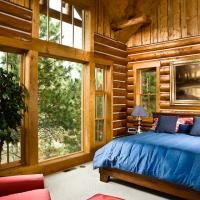 Large picture window in the bedroom.