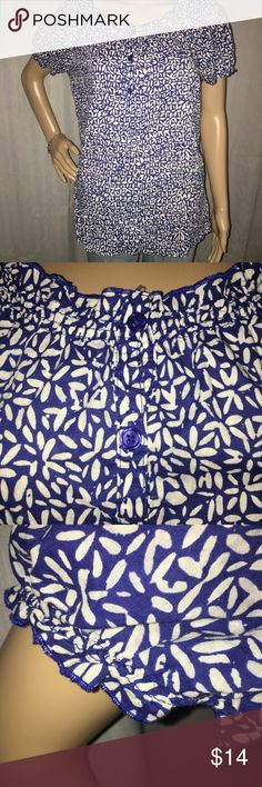 "Pretty Merona blouse Half way down buttons. Ruffled  collar and cuffs. Puffy short sleeves. 19"" pit to pit x 25"" long. In excellent condition! Merona Tops Blouses"