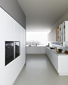 Zampieri - #Y kitchen in white lacquered vintage oak and bleached vintage oak.