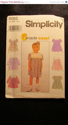 SALE Uncut Simplicity Sewing Pattern 8065 1/212 by EarthToMarrs, $6.30