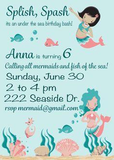 Mermaid Birthday Party Under The Sea Invitation