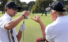 Adam Scott and Greg Norman discuss the bounce on Scotty's wedge at the President's Cup