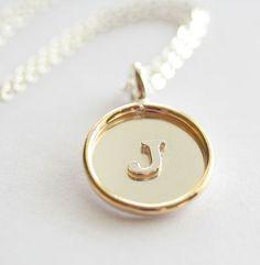 Medium SingleSided Sterling Silver Raised Initial by jenerijewelry, $59.00