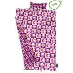 Copripiumino per letto singolo con gufetti in viola/rosso/rosa