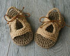 CECIL Beige /Tan Crochet Baby Boy Sandals by atelierbagatela