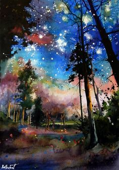 Forest stars - bright watercolor, sokolova anna, night landscape, trees, magic, romantic mood