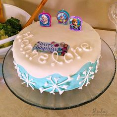 cake, Anna, Elsa, Olaf, happy birthday, snowflakes