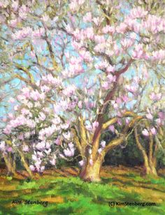 Items similar to Magnolia Spring Flower Painting Original Oil Garden Landscape Impressionist Ready to Hang Wall Art Unique Gift By Kim Stenberg on Etsy Oil Garden, Magnolia Paint, Spring Landscape, Impressionist Art, Fruit Art, Learn To Paint, Hanging Art, Amazing Flowers, Beautiful Paintings