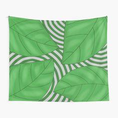"""Green Mandala Leaves, Mandala Leafs, "" Wall Tapestry by Tapestry Design, Wall Tapestry, Thing 1, Mandala Design, Textile Prints, Sell Your Art, All Print, Green Leaves, Vivid Colors"