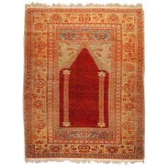 Early 20th Century Oushak Prayer Rug | From a unique collection of antique and modern turkish rugs at https://www.1stdibs.com/furniture/rugs-carpets/turkish-rugs/